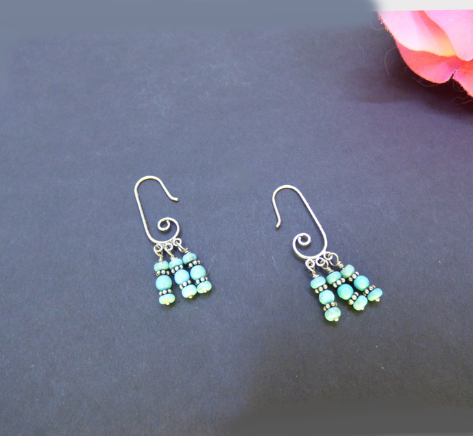 Unique Turquoise Ear Wire Sterling Silver Earrings