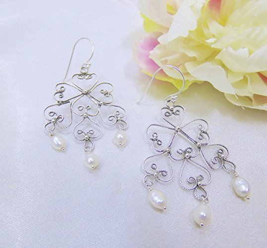 Beautiful Lacey Sterling Silver Filigree Pearl Earrings