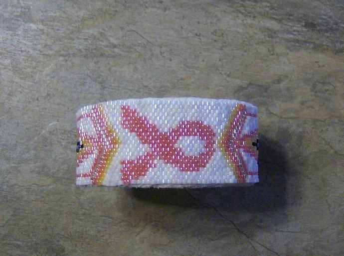 Cancer Awareness Cuff Bracelet Hand Made Seed Beaded