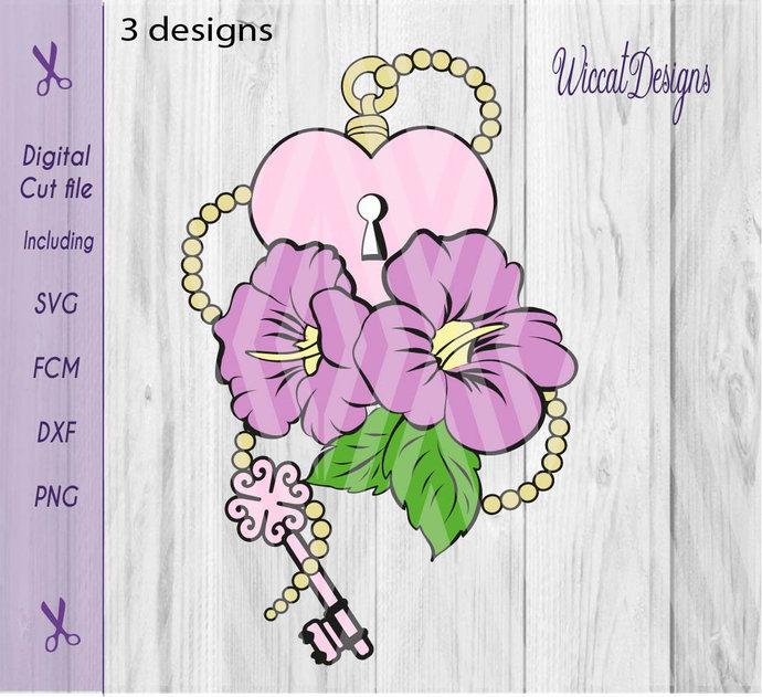 flower svg, Hibiscus svg, Heart svg, key svg,  stencil flower svg, heart lock