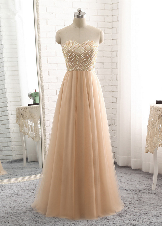 1d68cf024a3f Champagne Strapless Sweetheart Pearl Beaded Tulle Floor-Length Prom Dress,