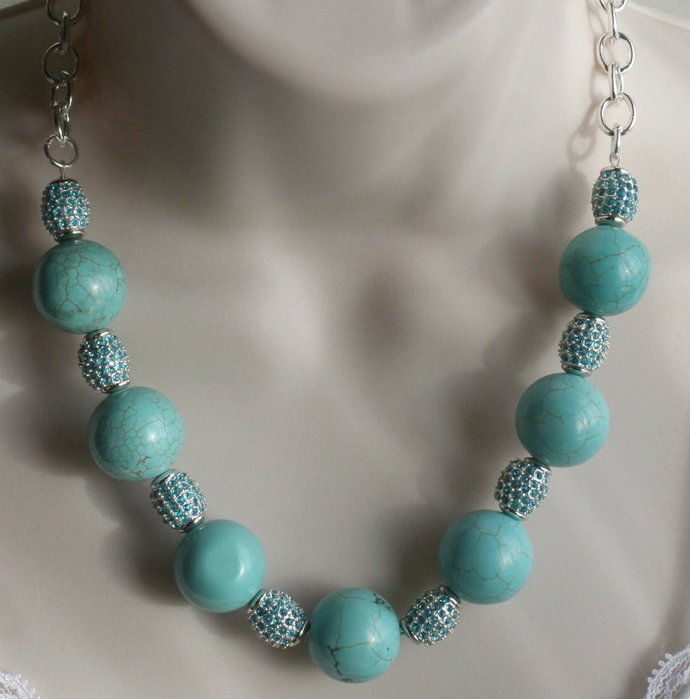 Chunky Turquoise Statement Necklace,  Big Bold Southwestern Necklace,