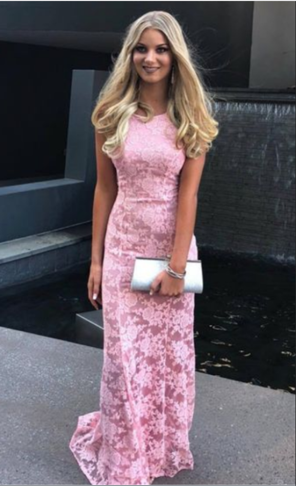 Sexy Pink Lace Mermaid Evening Dress, Mermaid by prom dresses on