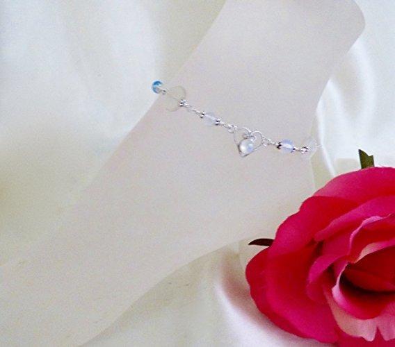 Sparkling Moonstone Hearts Sterling Silver Ankle Bracelet