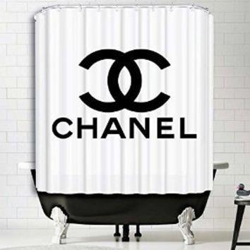 Fashion Logo Chanel Waterproof Fabric Shower Curtain Bath Mat For Decor Your