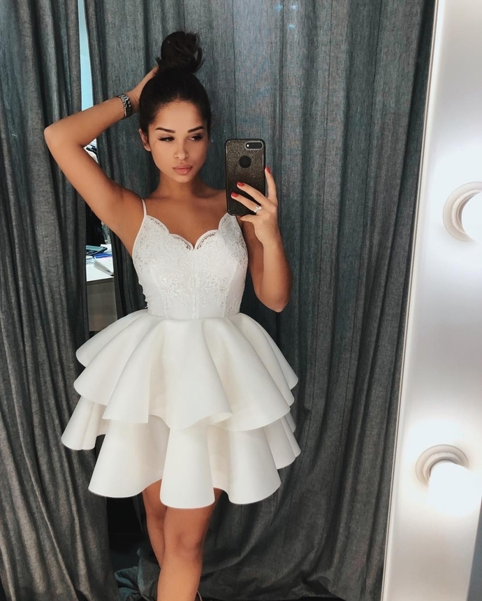 Cute White Spaghetti Straps Homecoming Dress by prom dresses on Zibbet