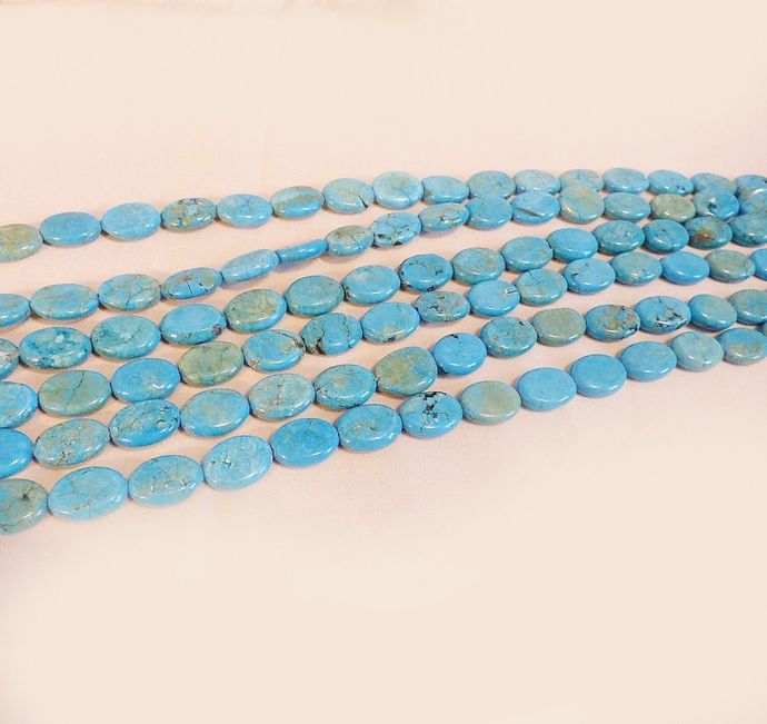 "Turquoise Flat Oval Beads 18mm x 12mm full 17"" Strand"