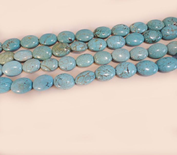"Turquoise Oval beads Large 28mm x 24mm  17"" strand"