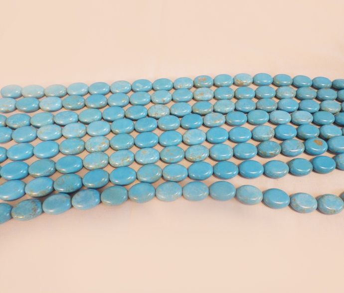 """Turquoise Flat Oval beads strand 18mm x 13mm Full16"""" strand"""