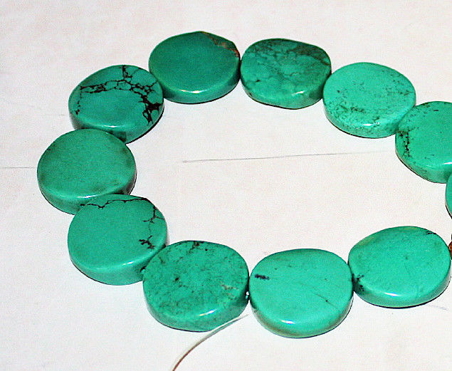 "Beautiful Green Turquoise Coin Beads 25mm 15.5"" strand"
