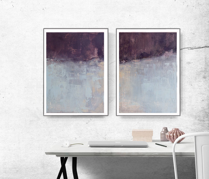 Minimalist Print Set, Instant Download, Set of 2 Prints, Beige & blue Printable