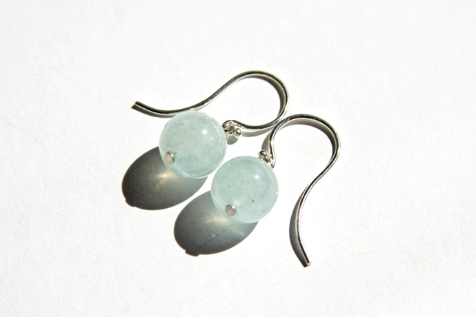 Aquamarine Sterling Earrings Natural Aquamarine Gemstone Light Blue Aqua