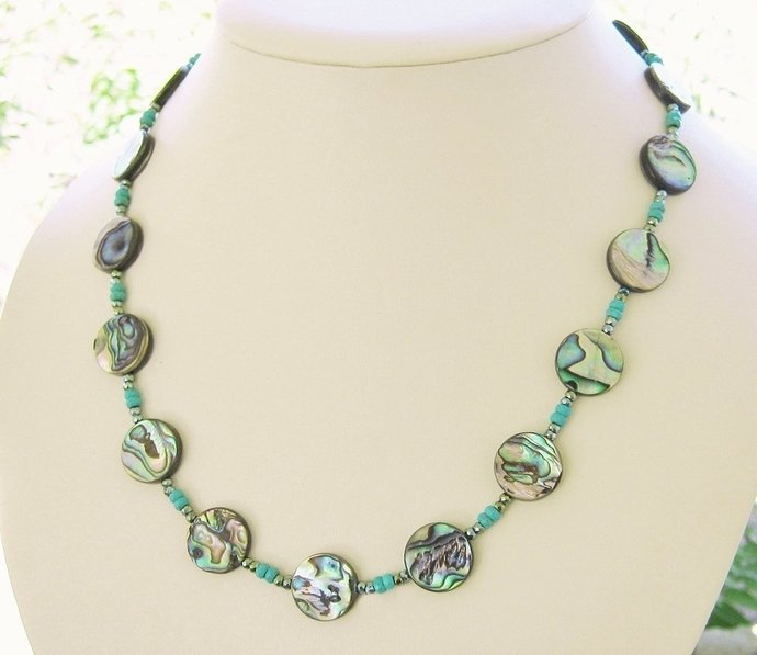 Genuine ABALONE Necklace beaded w/ turquoise, Adjustable Length, Artist Crafted