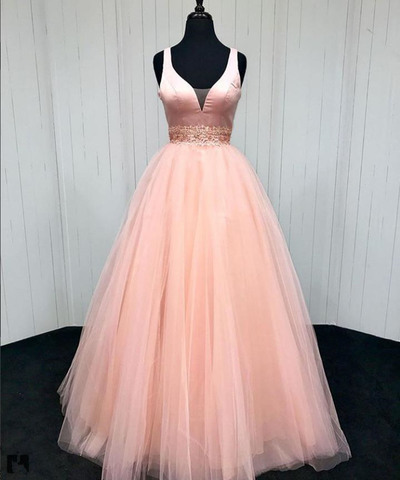 Charming Prom Dress,V-Neck Prom Gown,Beading Prom Dress,A-Line Prom Gown 819