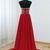 Red Chiffon Beaded Strapless Floor Length Prom Dress