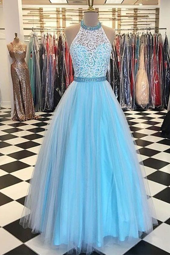 Sky Blue High Neck Lace Tulle Prom Dress