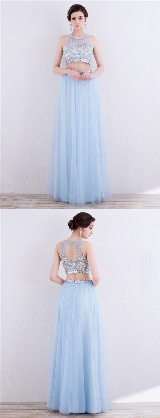 Two Piece Jewel Open Back Light Sky Blue by prom dresses on Zibbet