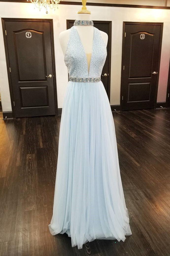2018 Gorgeous V Neck Light Sky Blue Long Prom Dress