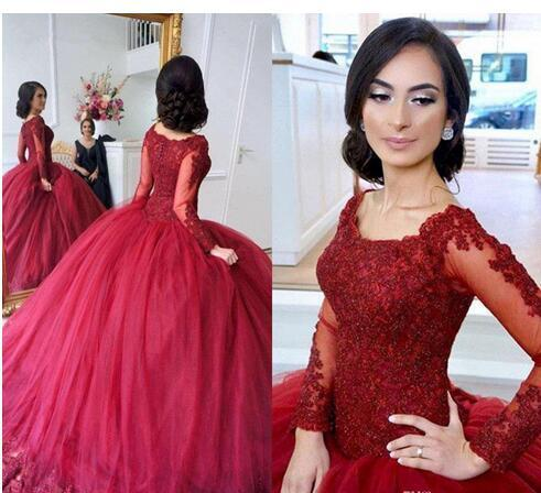 1273e3c9564 2018 Princess Quinceanera Dresses Burgundy Sheer Long Sleeve Lace Bodice  Tulle