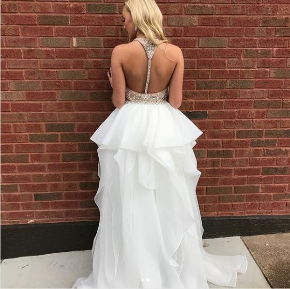 Sexy Straps White High Low Long Prom Dress