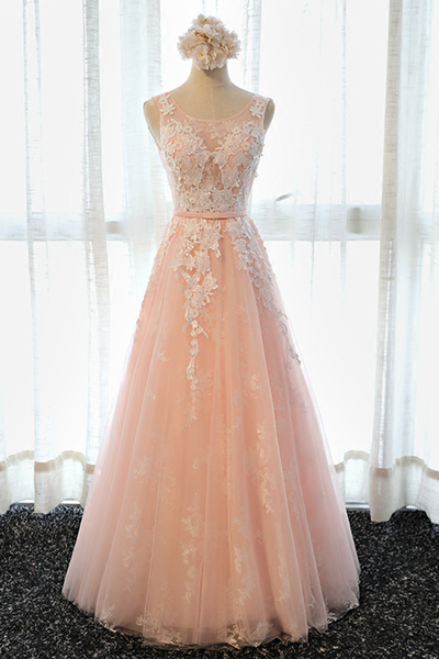 3a4ab96dfb7 Simple pink lace long senior prom dress