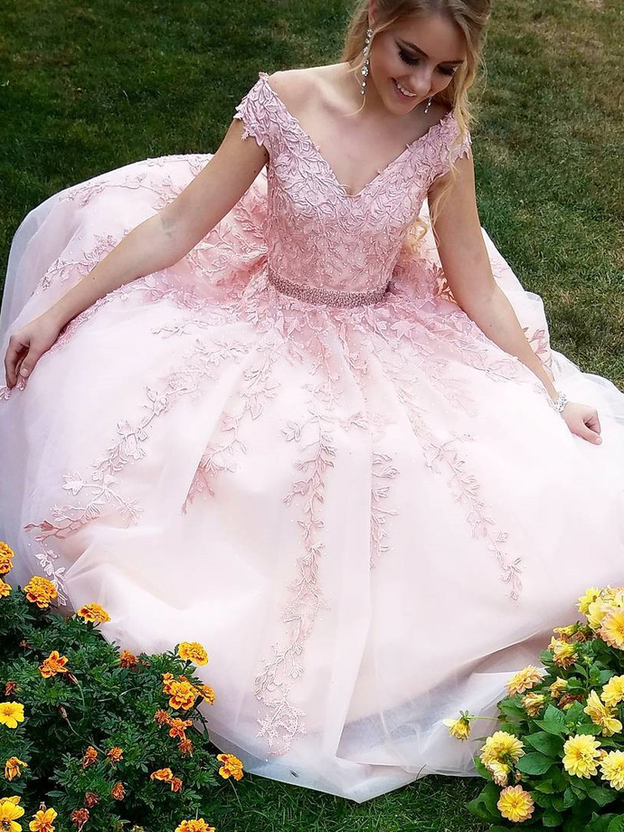 Princess V Neck Pink Lace Appliques Long Prom Dress