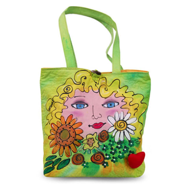 BrightFaces Flowers Painted Cotton Canvas Large Tote Bag