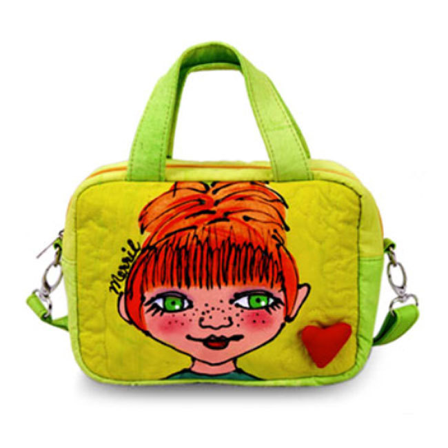 BrightFaces Green Eyes Hand Painted Fashion Shoulder Tote Bag - Small