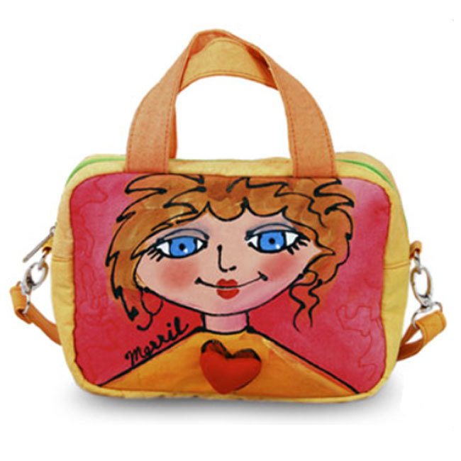 BrightFaces Blue Eyes Hand Painted Fashion Shoulder Tote Bag - Small