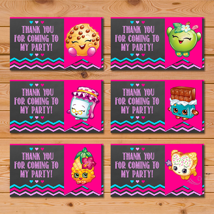 Shopkins Party Tags Pink Chalkboard * Shopkins Favor Tags * Shopkins Party Favors * Shopkins Birthday Party