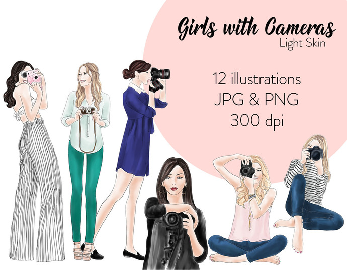Watercolour fashion illustration clipart - Girls with Cameras - Light skin