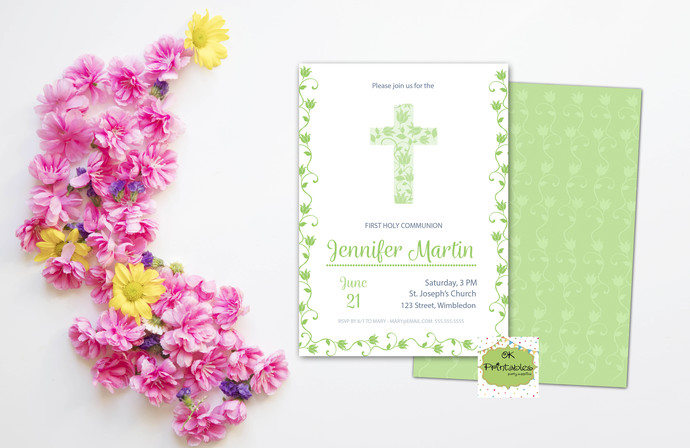 photo regarding Printable First Communion Invitation referred to as Environmentally friendly Initial Communion Invitation Electronic record 5x7- 1st Communion Invitation - Initial Holy Communion. Printable Social gathering invitation.