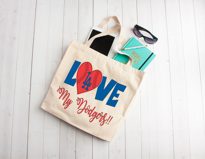 Love my Los Angeles Dodgers, Dodgers tote bag, baseball bag, sports bags, one of