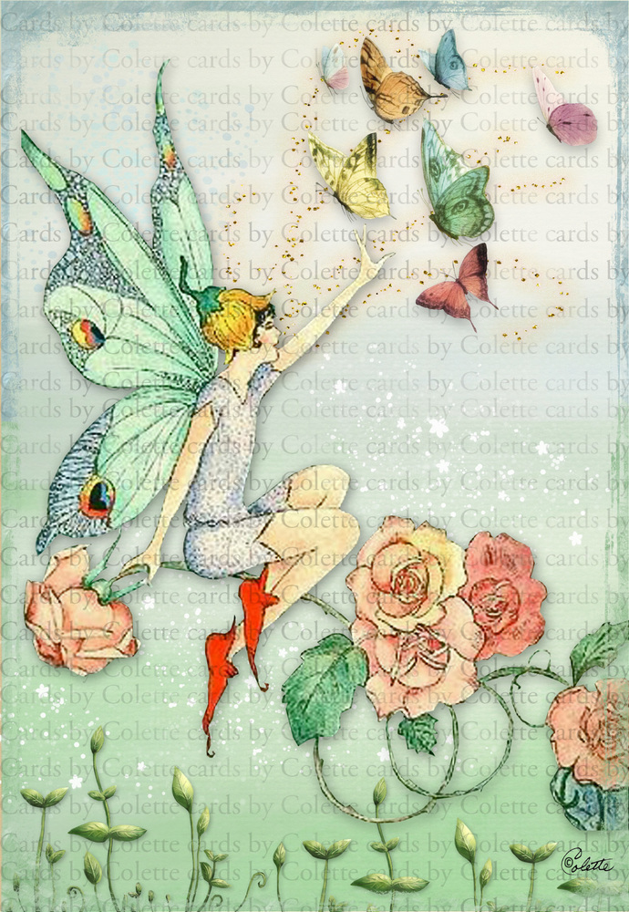 Fairy and Butterfies Digital Collage Greeting Card1098