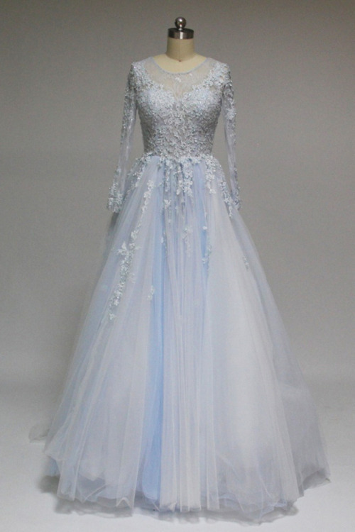 Charming Prom Dress,,Tulle Prom Gown,Appliques Prom Dress,Long-Sleeves Prom Gown