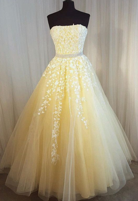 Charming Prom Dress,,Tulle Prom Gown,Appliques Prom Dress,Strapless Prom Gown