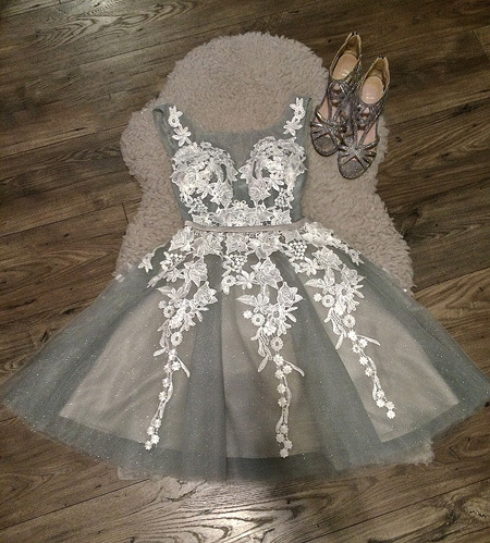 Cute O-Neck Appliques Homecoming Dresses,Short Prom Dresses,Cheap Homecoming