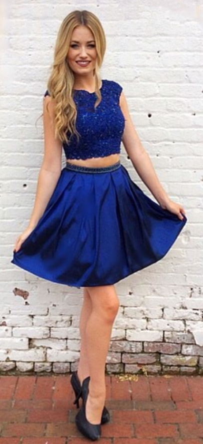 a030a46725a by prom dresses. Two Piece Homecoming Dress, Royal Blue Homecoming Dress,  Short Homecoming Dress,