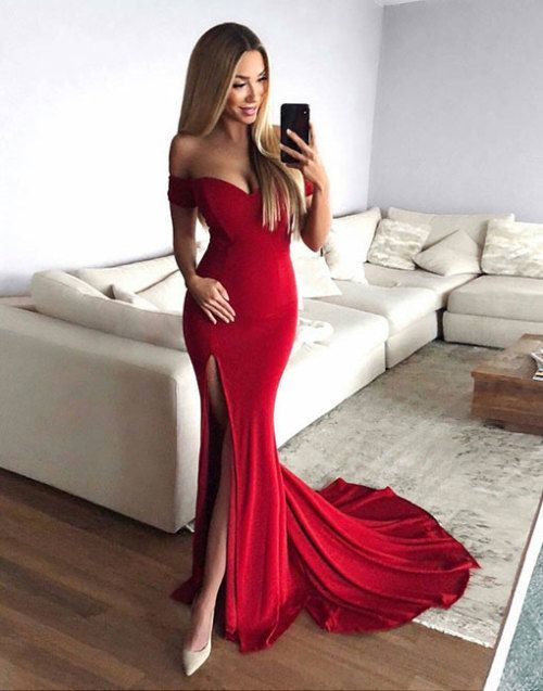 363b07916250 Sexy Slit Red Prom Dress,Mermaid Off Shoulder Sleeves Party Dress,Mermaid  Red