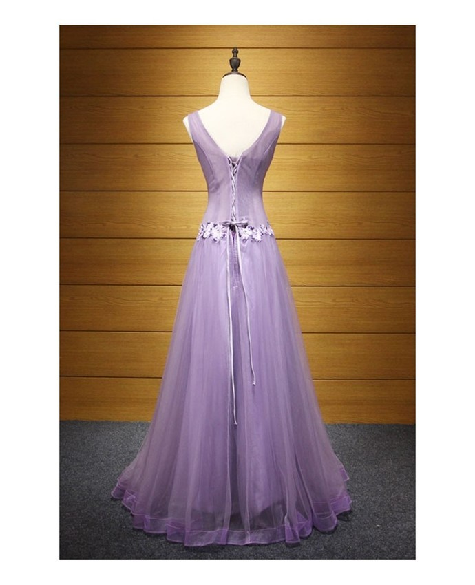 Purple A-line V-neck Floor-length Tulle Prom Dress With Beading,Backless Prom