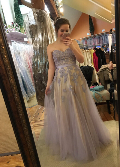 Charming Prom Dress,Appliques Prom Dress,Sweetheart Prom Dress,Tulle Evening