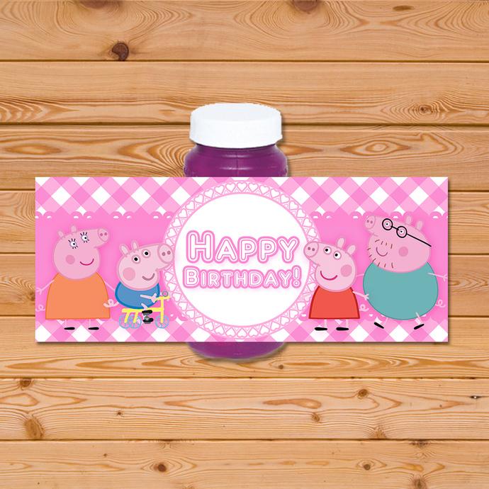 Peppa Pig Bubble Label - Pink Checkered * Peppa Pig Birthday * Peppa Pig Bubble