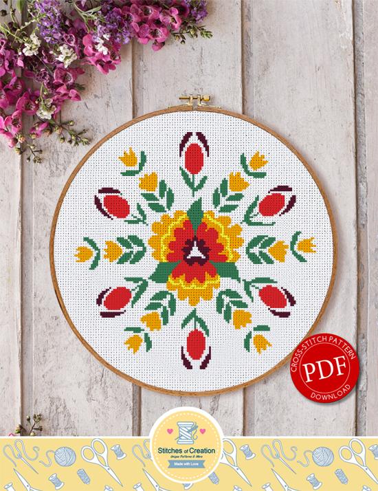 Folk Flower Design Digital Download By Stitches Of Creation On Extraordinary Cross Stitch Flower Patterns