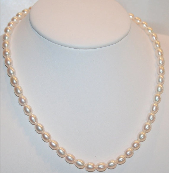 Large Creamy White Pearl Wedding Necklace, Freshwater Pearl Bridal Statement