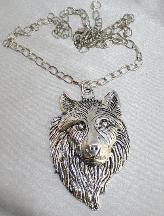 Men's Antique Silver Wolf Pendant Necklace, Bold Chunky Wolf Jewelry, Large