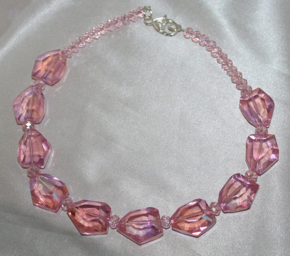 Bold Pink Crystal Quartz Statement Necklace, Big Crystal Gemstone Jewelry, Pink