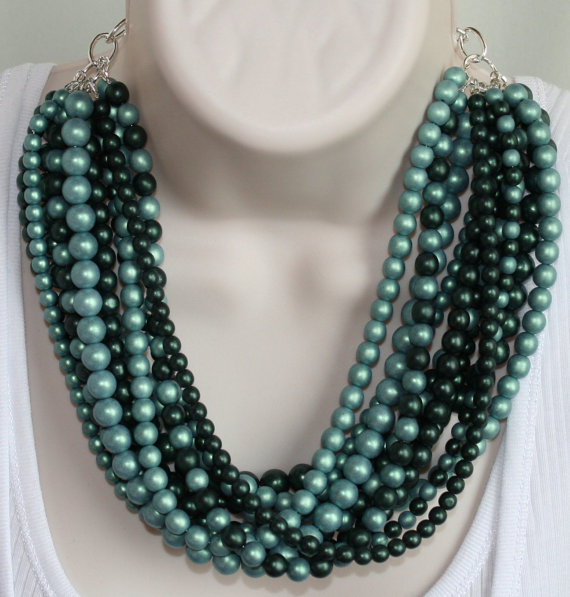 Chunky Green Czech Satin Bead Statement Necklace, Big Bold Beaded Jewelry, Large
