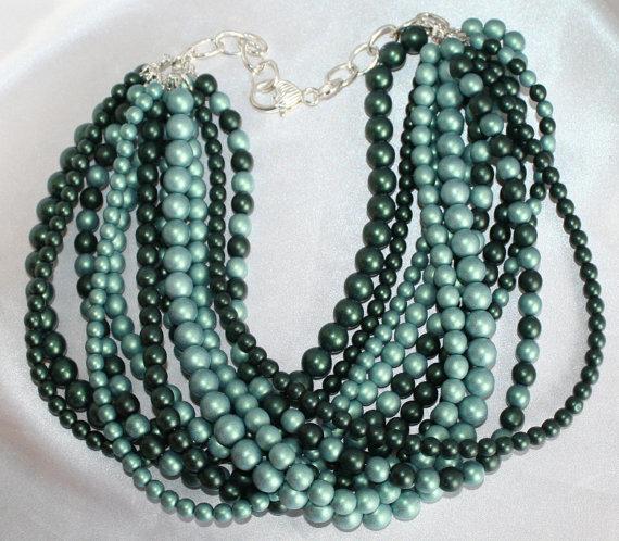 Chunky Green Czech Satin Bead Statement Necklace, Big Bold Beaded Jewelry, Large
