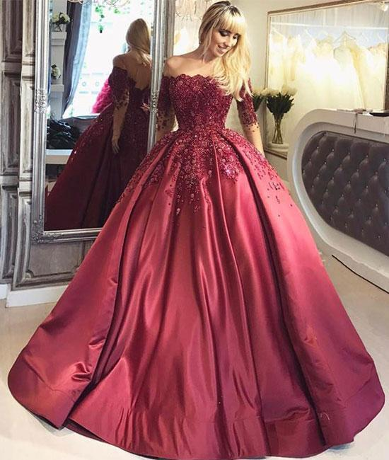 BURGUNDY LACE SATIN LONG PROM GOWN, BURGUNDY EVENING DRESS