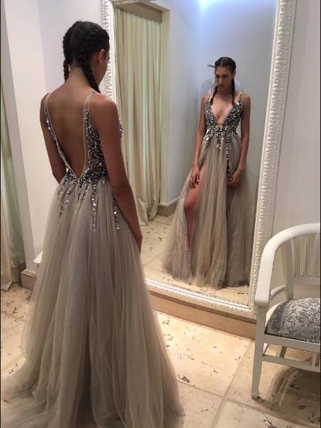 Deep V-Neck Prom Dresses